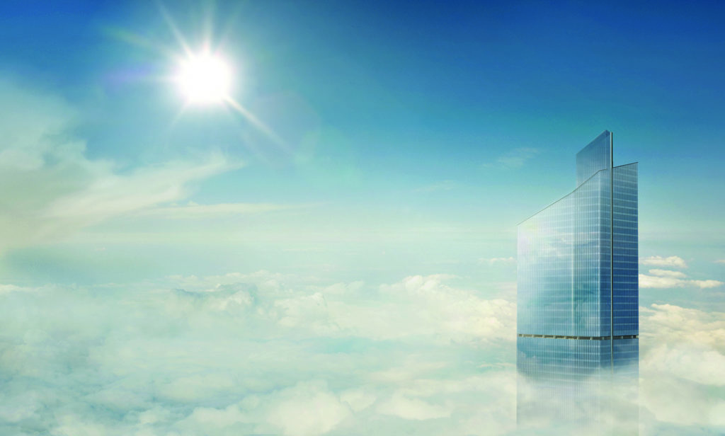 Skyliner CGI building above clouds